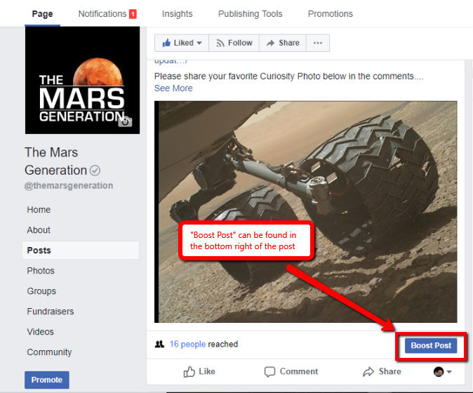 Boost Facebook image boost post