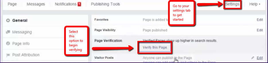 Verify Facebook settings